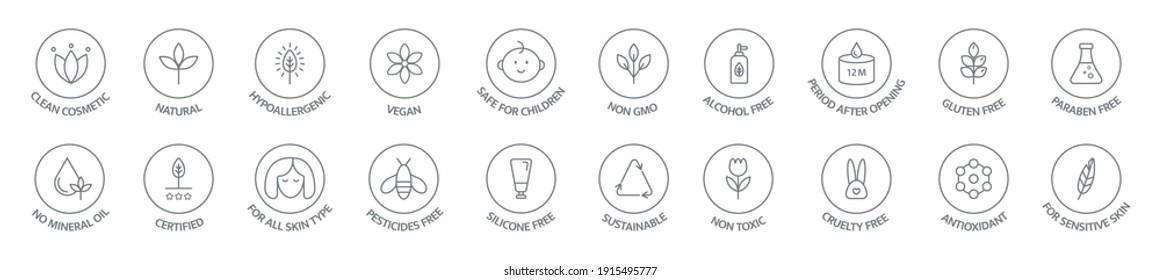 Organic and natural cosmetic line icon collection. Vegan, bio food. Organic products badges. Clean cosmetic, non toxic, hypoallergenic, safe for children. GMO free emblems. Vector illustration.