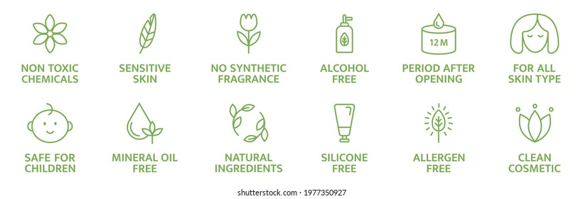 Organic and natural cosmetic line icons. Skincare symbol. Allergen free badges. Beauty product. Gluten and paraben free cosmetic. Non toxic logo. Eco, vegan label. Sensitive skin. Vector illustration.