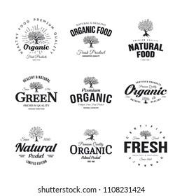 Organic natural and healthy farm fresh food retro emblem set. Olive tree vintage old logo badge isolated on white background. Premium quality green plant organic fashion logotype illustration design.
