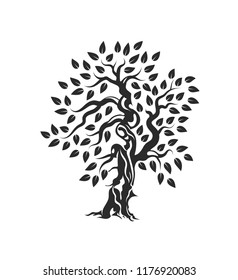 Organic natural and healthy olive tree silhouette logo isolated on white background. Modern vector green plant icon sign design artwork. Premium quality oil product logotype flat emblem illustration.