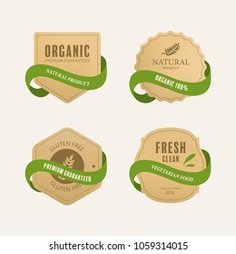 organic natural label and tag banner with green color. badge paper kraft design.
