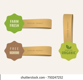 organic natural label and tag banner. Clothing label vector set.