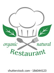 Organic natural restaurant icon logo with a chefs toque or hat over a crossed spoon and fork with green leaves and text on a white background