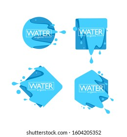 organic natural spring water, vector  logo, labels and stickers templates with aqua drops