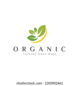 organic nature with leaf concept logo icon vector template