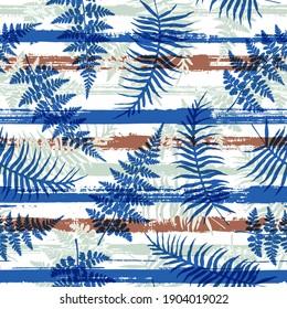 Organic new zealand fern frond and bracken grass overlaying stripes vector seamless pattern. Brazilian jungle foliage swimwear textile print. Stripes and tropical leaves illustration.