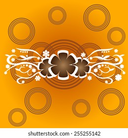 organic orange background with flowers
