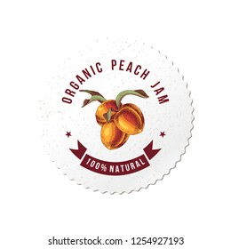 Organic peach jam round emblem with hand drawn peach branch. vector illustration