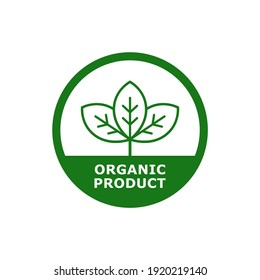 Organic product with leaf badge logo design. Suitable for product label, cosmetics, food, vegan, health and nature