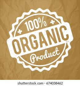 Organic Product rubber stamp white on a crumpled paper brown background.