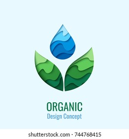 Organic Product - vector abstract background with paper cut water drop and green leaves. Ecology concept symbol. Creative logo design