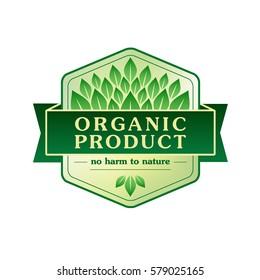 Organic product vector emblem