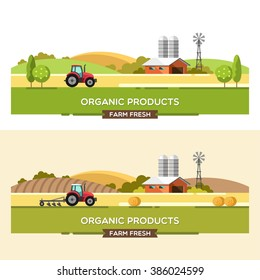 Organic products. Agriculture and Farming. Agribusiness. Rural landscape. Design elements for info graphic, websites and print media. Vector illustration.