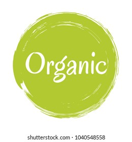 Organic products icon, food package label vector graphic design. Organic food logo, no chemicals sign, green round stamp isolated clip art, circle tag organic farming label or sticker vector emblem.