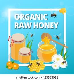 Organic raw honey banner.