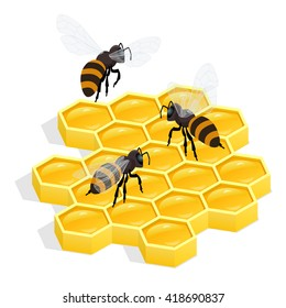 Organic raw honey. Healthy food production. Honey bees on a honeycomb. Environmentally friendly product. Sweet food made by bees foraging nectar from flowers.