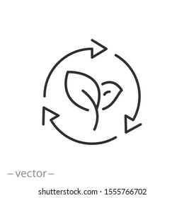 organic recycle icon, eco care, reusable environmental, ecology friendly reuse, logo, thin line web symbol on white background - editable stroke vector illustration eps 10