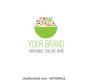 Organic salad vector logo template. Bio fresh products emblem. Eco bio production label