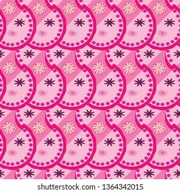 organic scribbled pink monochrome geometric seamless pattern tile with decorative floral elements for creative surface designs, textile, fabric, wallpaper, backdrops, cards, and templates.