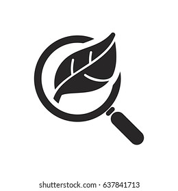 Organic Seo, search icon with leaf icon, analysis vector icon, eps10,