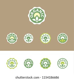 Organic – set of vector icons (stickers, labels, pictograms), in various options of shape and colors within a green palette. On white and brown (kraft paper's color) background.