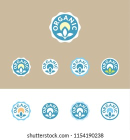 Organic – set of vector icons (stickers, labels, pictograms), in various options of shape and colors within a ble palette. On white and brown (kraft paper's color) background.
