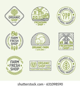 Organic shop and farm fresh logo set color line style isolated on background for natural product company, healthy food market, vegan cafe, eco store, nature firm, garden, farming. Vector Illustration