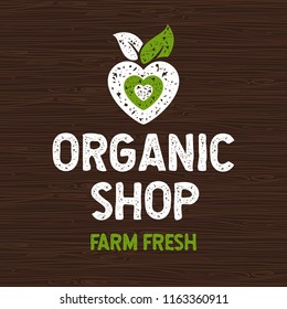 Organic shop logo, farm fresh food label, board, wood, elements, emblem for eco shop, restaurants, organic products stock vector illustration