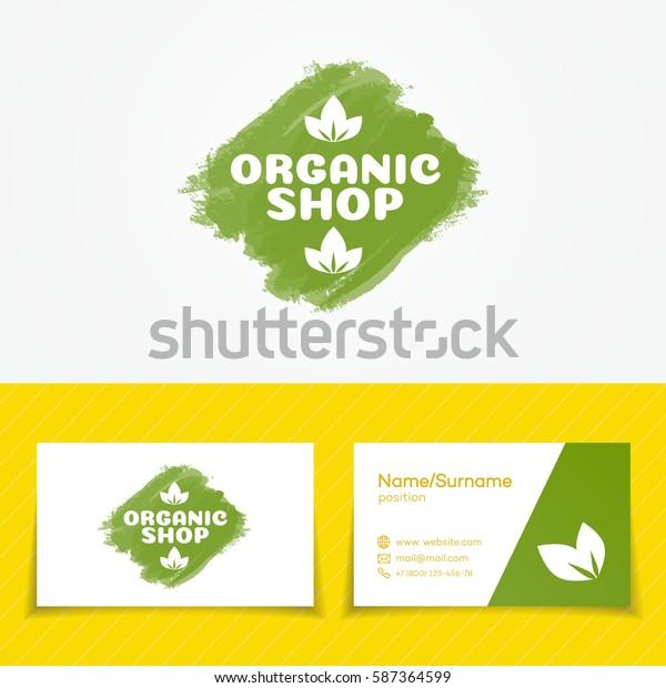 Organic Shop Logo Set Use Farm Stock Vector Royalty Free 587364599