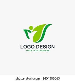 Organic suplement logo design vector. Natural health logo design.