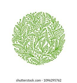 Organic Tea leaves logo design iluustration, Tea leaves logo design, Circular organic tea leaves logo design illustration