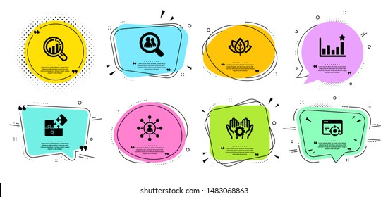 Organic tested, Seo analysis and Networking line icons set. Chat bubbles with quotes. Seo targeting, Puzzle and Employee hand signs. Search employees, Efficacy symbols. Vector