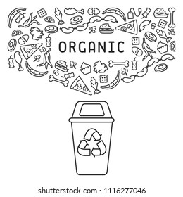 Organic trash illustration with garbage and dumpster. Linear style vector illustration. EPS10