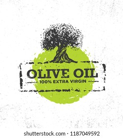 Organic Vector Creative Design Element. Olive Oil Extra Virgin Artisanal Eco Food Label Concept On Raw Background