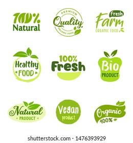 Organic vector logo or sign collection, bio healthy food badges