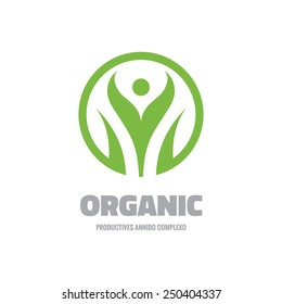 Organic - vector logo template concept illustration. Green leaves sign. Abstract human character sign. Nature ecology symbol. Design element.