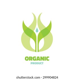 Organic - vector logo template concept illustration. Ecology leaves ign. Bio nature symbol. Agriculture icon. Sprout and water drop. Design element.