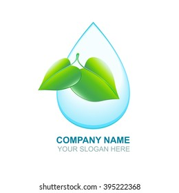 Organic vector logos. Green leaf and blue water drop. Isolated icons. Eco logo. Water purification