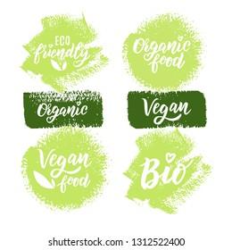 Organic, vegan, healthy, Bio food hand lettering text set for logo or label. Element for design menu restaurant or café. Typography vector illustration.