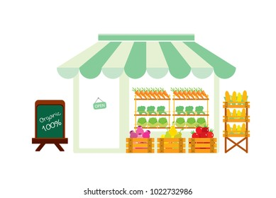 Organic vegetable and fruit store. Flat isolated vector illustration on white background.