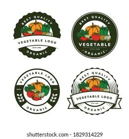 organic vegetable template logo design