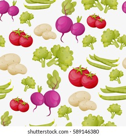 Organic vegetables seamless pattern. Vector food pattern. Vegetables on a white background