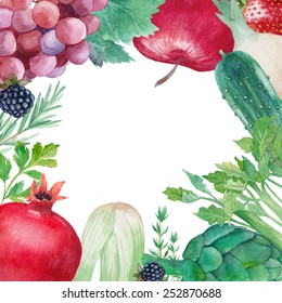 Organic vegetarian food frame. Hand painted fruit and vegetables: garnet, grape,onion, spices, cucumber, berries, celery, apple, artichoke. Healthy fresh products background in vector.