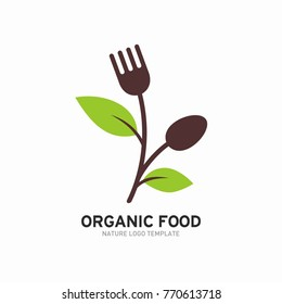 Organic, vegetarian, healthy food logo template