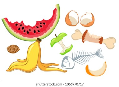 Organic waste, food compost collection isolated on white background. Banana and watermelon rind, fish and chicken bone and apple stump vector illustration