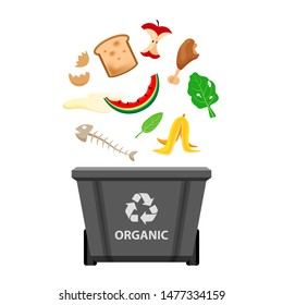 organic waste and grey recycling plastic bin isolated on white background, plastic bin and organic garbage, waste organic trash, illustration clip art bin, 3r garbage
