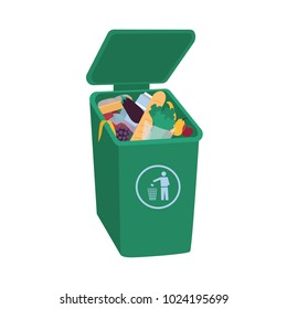 Organic waste lying in open green trash container. Leftover food in dumpster isolated on white background. Fruits, vegetables, bread and other edible products in garbage bin. Flat vector illustration.