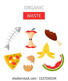 Organic waste vector illustration. Food garbage - apple stump, banana peel, fish bones, eggshell, pizza, meat, watermelon. Recycling ecology problem isolate on white background objects collection.