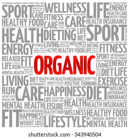 ORGANIC word cloud background, health concept