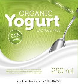 Organic Yogurt on green background